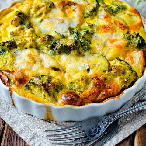 Casserole With Chicken Breast And Broccoli, Lunch, Nutritious, Rich In Vitamins And Protein!