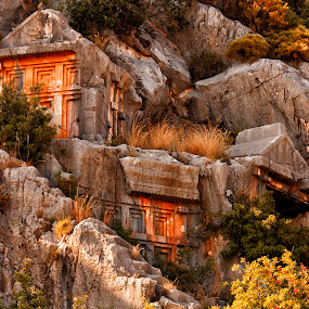 Lycian Tombs by Rafael Uy - Buildings & Architecture Public & Historical ( antalya, roman structure, tombs, myra, ruins, turkey, rock-cut tombs )