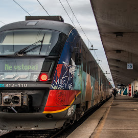 NoEnter by Mario Horvat - Transportation Trains ( modern, electric, graffiti, train, red light, colorfull )