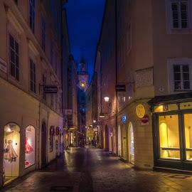Salzburg by Ole Steffensen - City,  Street & Park  Street Scenes ( tower, salzburg, shops, street, night, austria )