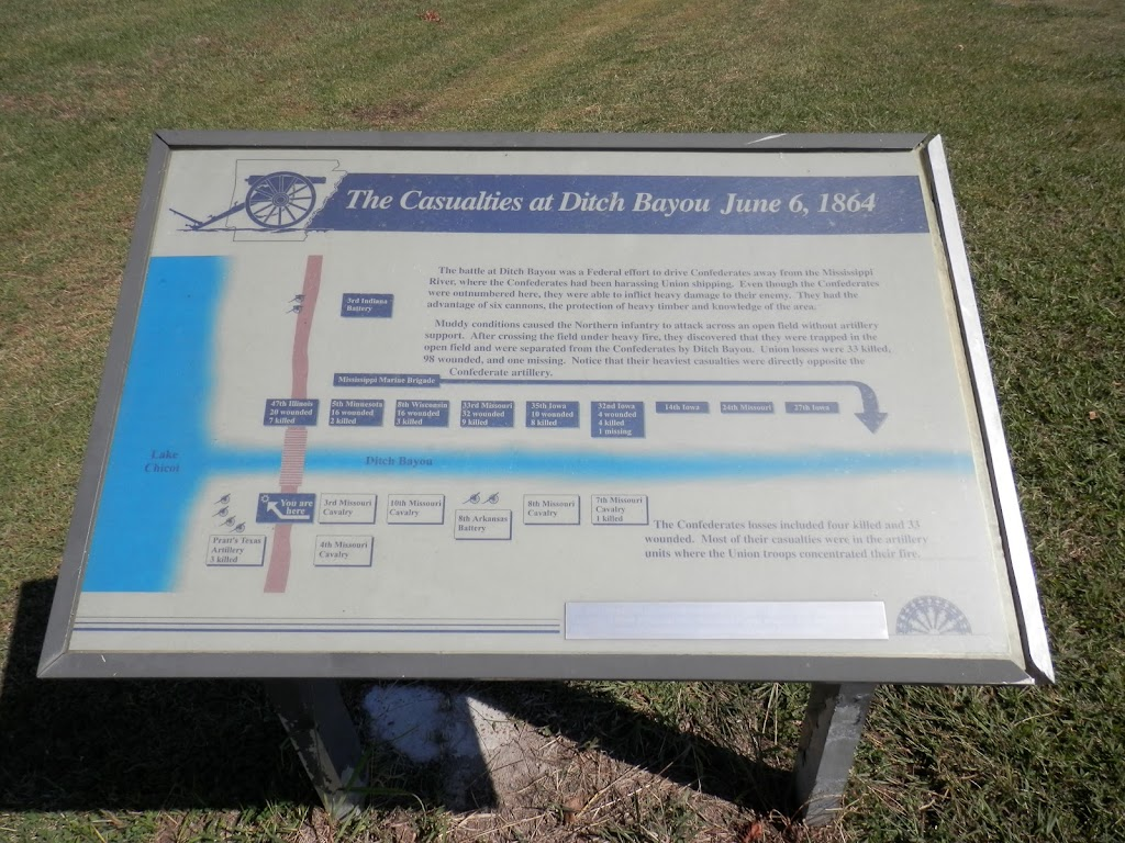 The battle at Ditch Bayou was a Federal effort to drive Confederates away from the Mississippi River, where the Confederates had been harassing Union shipping. Even though the Confederates were ...