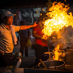 Light it up! by Mahdi Hussainmiya - City,  Street & Park  Markets & Shops ( food stall, food, glow, fire, flame, street photography )