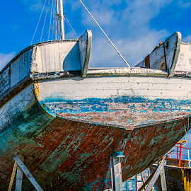 under repair by Vibeke Friis - Transportation Boats ( peeling paint, hdr, boat )