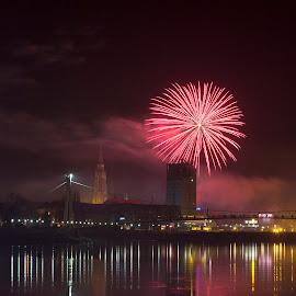 firework by Johnn Doe - Public Holidays New Year's Eve ( water, reflection, osijek, firework, croatia )