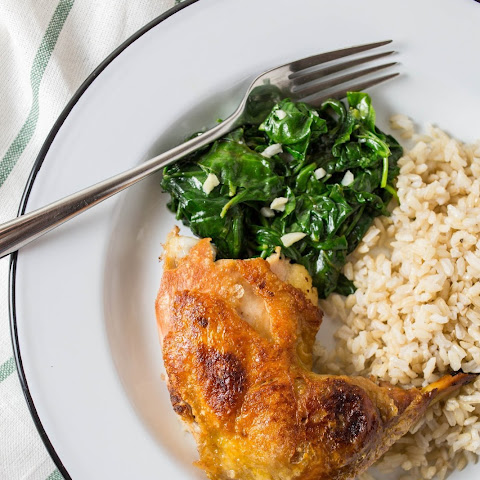 Crispy Chicken Thighs with Garlicky Spinach