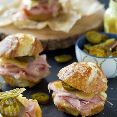Gruyere, Jalapeño and Ham Sandwiches on Pretzel Bread