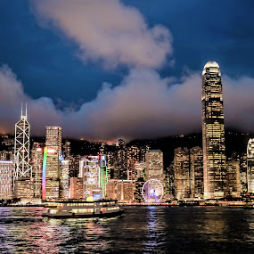 View from the Harbor by Israel  Padolina - City,  Street & Park  Skylines ( city, night, buildings, hongkong, landscape )