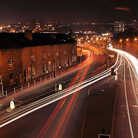 busy roads by Damien Brearley - Transportation Other ( transport, halifax, cars, long exposure, slow shutter )