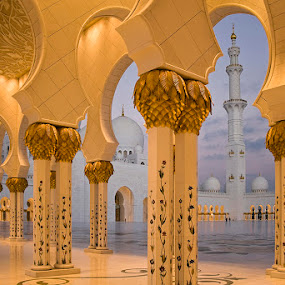 Walkway in Sheikh Zayed Grand Mosque by Viktoryia Vinnikava - Buildings & Architecture Other Exteriors ( mosque, uae, abu dhabi, walkway, sunrise, architecture,  )