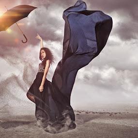 Surreal  by Danny Tan - Digital Art People ( flying, model, girl, danny tan, umbrella, surreal, fabric, black, photography, asian )