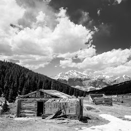 Mayflower Gulch Black and White by Mike Thompson - Black & White Landscapes ( clouds, daytime, mountains, mountain, black and white, trees, landscape photography, landscapes, landscape, black )