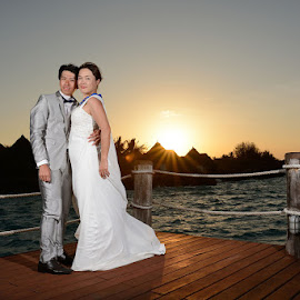 Sunset  by Andrew Morgan - Wedding Bride & Groom ( zanzibar, sunset, wedding, paradise, bride, groom )