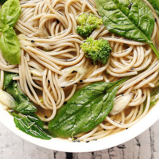 Pho inspired Green Leaf Noodles with Sweet Onion Broth