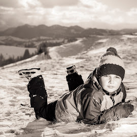 dreamer by Octavian Geala - Babies & Children Child Portraits ( dreaming, child, winter, mountain, snow, sunshine, landscape )