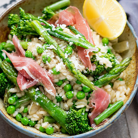 Spring Vegetable Risotto with Proscuitto
