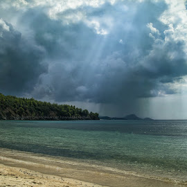 And somewhere, raining and raining! by Илияна Лазарова - Landscapes Beaches ( sands, summer beach landscape, sea, summer, beach, raining beach, rain,  )