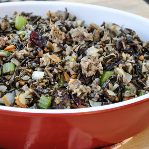 Wild Rice and Water Chestnut Stuffing with Sausage
