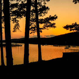 Sunset in Arkansas by Jennifer  Loper  - Landscapes Waterscapes ( mountains, sunset, boats, lake, pine trees )