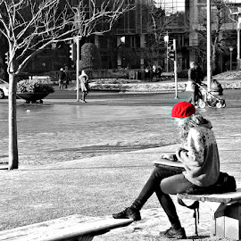 Girl in a Red Beret - Bergen by Judith Deacon - People Street & Candids