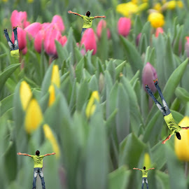 Happy Flowers by Lorraine D.  Heaney - Digital Art Things