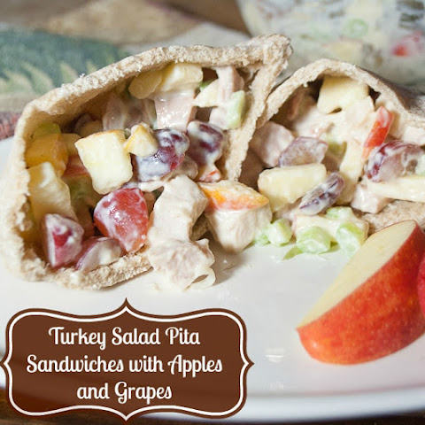 Pita Pocket Sandwiches Stuffed with Turkey, Apples and Grapes