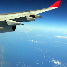 Before Landing to SL by Sinthujan Pakkiyarajah - Transportation Airplanes ( before landing, wings, airplane, sri lanka, good weather )
