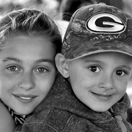 Siblings B&W by Cheryl Korotky - Black & White Portraits & People