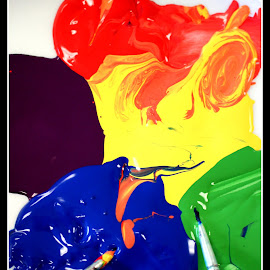 Painting by Ernie Kasper - Artistic Objects Other Objects ( orange, colourful, purple, blue, green, art, artistic, brushes, paint, yellow )