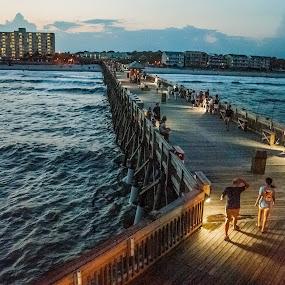 Night on the Pier by Prentiss Findlay - City,  Street & Park  Night ( ocean pier, pier, people on pier at night, ocean, pier at night )