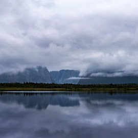 Clouded Reflection, Former Fjords. by Tracy Munson - Landscapes Weather ( tourist attraction, clouds, reflection, canada, newfoundland, nl. gros morne, toronto, 2015, tourism, travel, landscape, atlantic, photography, fjord, east coast, mountains, national park, tracy munson, sky, nature, western brook pond, fog, gta, mist )