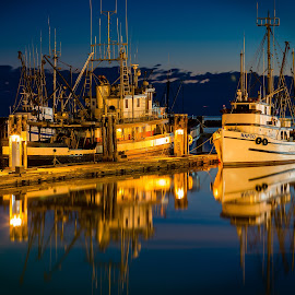 Safe Harbour II by Scott McMillan - Transportation Boats ( water, reflection, sky, sunset, blue hour, no people, outdoors, steveston, landscapes )