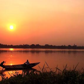 Panihati Ganga by Jhilam Deb - Transportation Boats ( ganga, kolkata, sunset, boats, sunshine, sunrise,  )