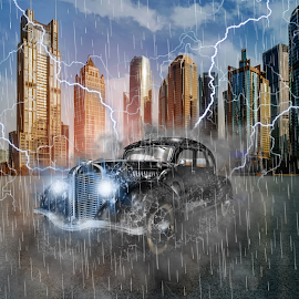 Oldtimer first class by Miroslav Potic - Digital Art Things ( car, old car, lighting, dramatic, oldtimer, classic, rain, smoke, manipulation )