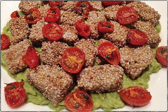 Sesame tuna on avocado - Tapas - Recipe - Pabular