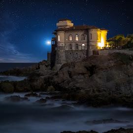 Boccale Castle at night by Alessandro Genero - Landscapes Waterscapes ( water, tuscany, sea, seascape, landscape, le, stars, castle, night, livorno, italy, longexposure, rocks, boccale,  )