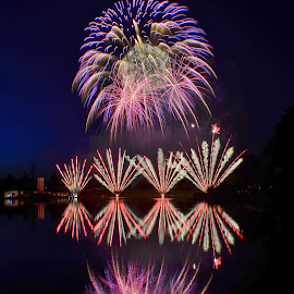 Reflections of the 4th by Holly Dean - Abstract Fire & Fireworks ( lights, reflectio, fireworks, night, celebration,  )