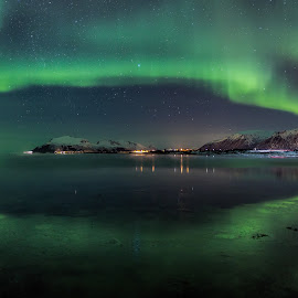 Aurora reflections by Benny Høynes - Abstract Light Painting ( canon, colorful, green, northern lights, aurora borealis, sea, norway )