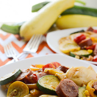 Kielbasa and Pierogies with Summer Vegetables #WeekdaySupper
