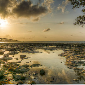 Bahia Honda Sunrise by Ken Wagner - Landscapes Waterscapes ( clouds, hdr, waterscape, rock, sunrise,  )