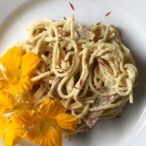 Seitan in Saffron Sauce with Spaghetti