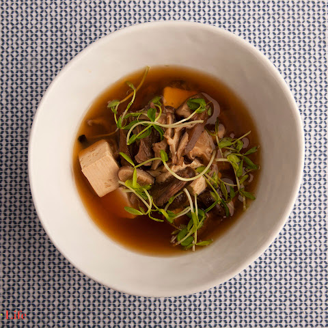 Mushroom Broth with Tofu & Pea Shoots
