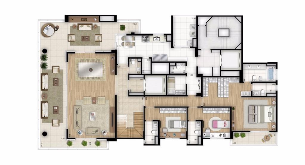 Cobertura Duplex Inferior - 4 suítes - 448m² - Torre Bianco