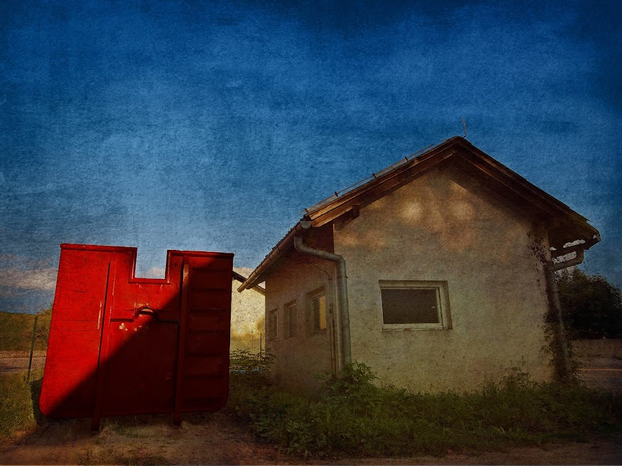 the red container by Brut Carniollus - Digital Art Abstract ( red, blue, world_is_red, conceptual,  )