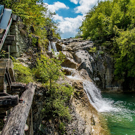 by Mario Horvat - Landscapes Travel ( water, mill, old, sky, nature, waterfall, trees, decay )