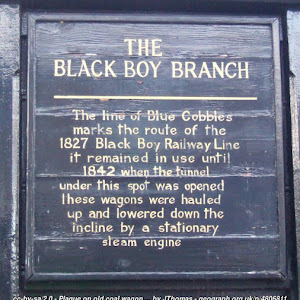 THE BLACK BOY BRANCH The line of Blue Cobbles marks the route of the 1827 Black Boy Railway Line it remained in use until 1842 when the tunnel under this spot was opened these wagons were hauled up ...
