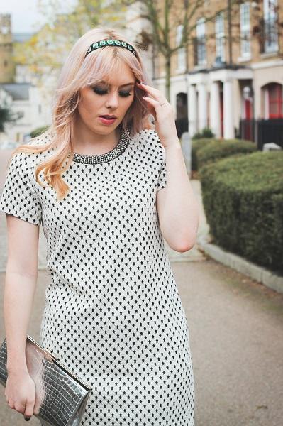 white polka dot dress with headband