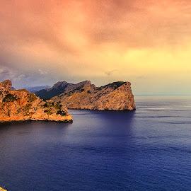 Cap de Formentor by Stanley P. - Landscapes Waterscapes ( exposure, clouds, water, seasscape, cap, gold, landscape, waterscapes, sea-rock )