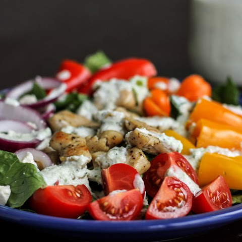 Chicken Gyro Salad with Homemade Tzatziki Dressing