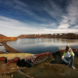 At the Lake  by Þorsteinn H. Ingibergsson - Landscapes Waterscapes ( iceland, girl, nature, structor, lake, landscape )