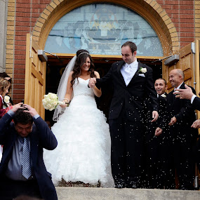 Raining Rice by Lacy Gillott - Wedding Ceremony ( love, rice, church, humour, wedding, beautiful, tradition, beauty, ceremony, bride, groom, newly weds )